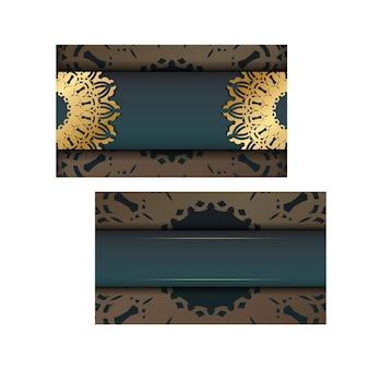 Folheto de saudação com gradiente de cor verde com luxuoso padrão de ouro para seus parabéns.