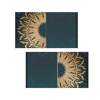 Folheto de saudação com gradiente de cor verde com luxuosos enfeites de ouro para seu projeto.