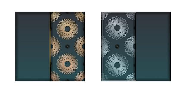 Folheto de saudação com gradiente de cor verde com ornamentos de ouro vintage para seu projeto.
