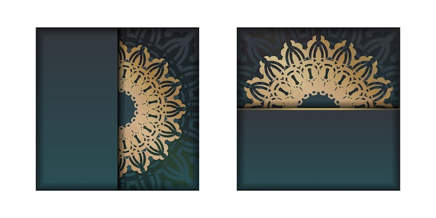 Folheto de saudação com gradiente de cor verde com padrão vintage ouro para sua marca.