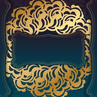 Folheto de saudação de gradiente verde gradiente com ornamento de ouro abstrato pronto para impressão.
