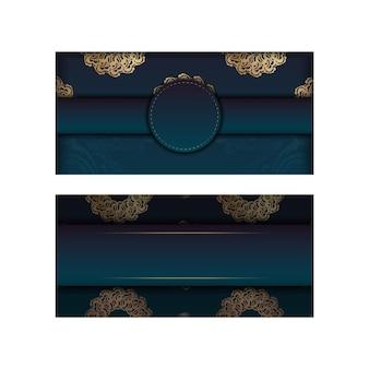Folheto de saudação de gradiente verde gradiente com padrão grego de ouro para seus parabéns.