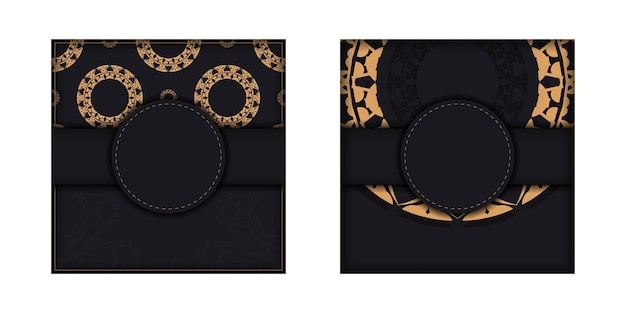 Folheto de saudação em preto com enfeite de luxo marrom
