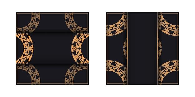Folheto de saudação em preto com padrão vintage marrom