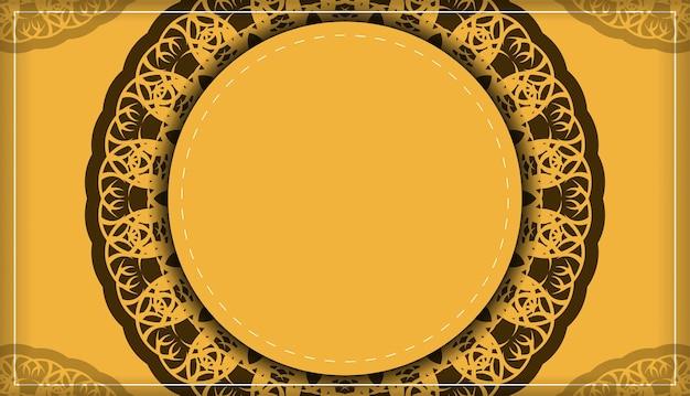 Folheto de saudação na cor amarela com ornamentos marrom vintage para seu projeto.