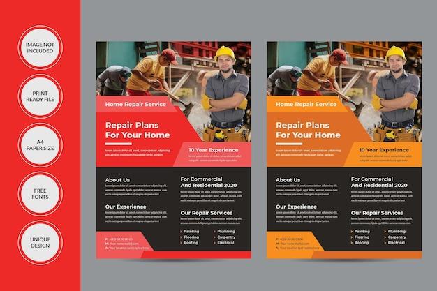 Folheto de serviço de conserto doméstico