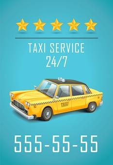 Folheto de serviço de táxi.