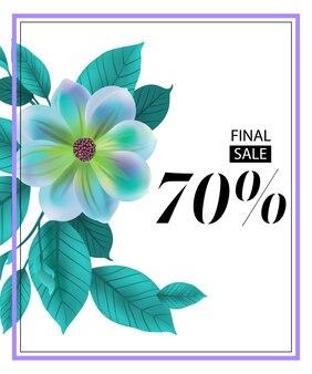 Folheto de setenta por cento de venda final com flor azul e moldura.