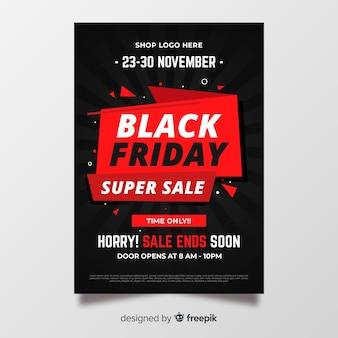 Folheto de sexta-feira design plano preto