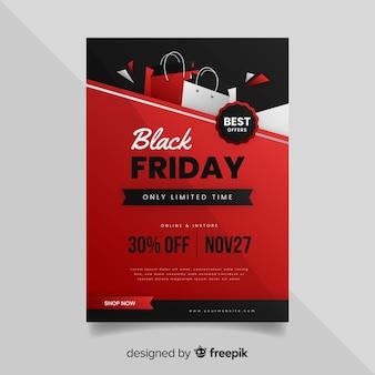 Folheto de sexta-feira preta em design plano