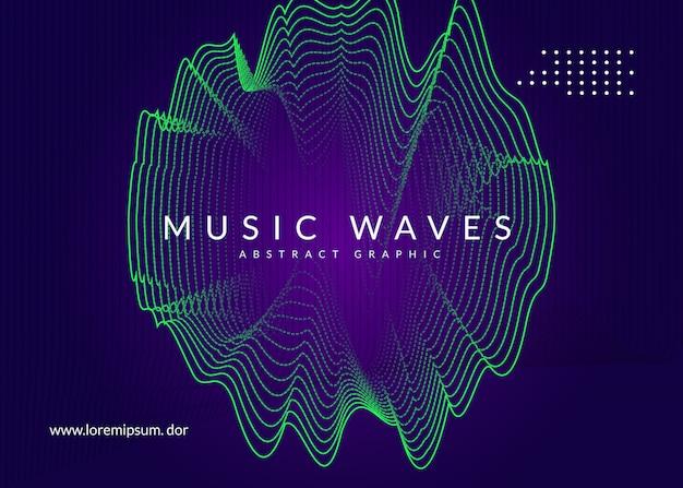 Folheto de som neon. electro dance music.