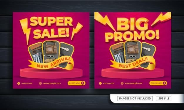 Folheto de super venda ou banner de mídia social para promoção de comerciantes