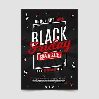 Folheto de super venda preto sexta-feira desenhada à mão