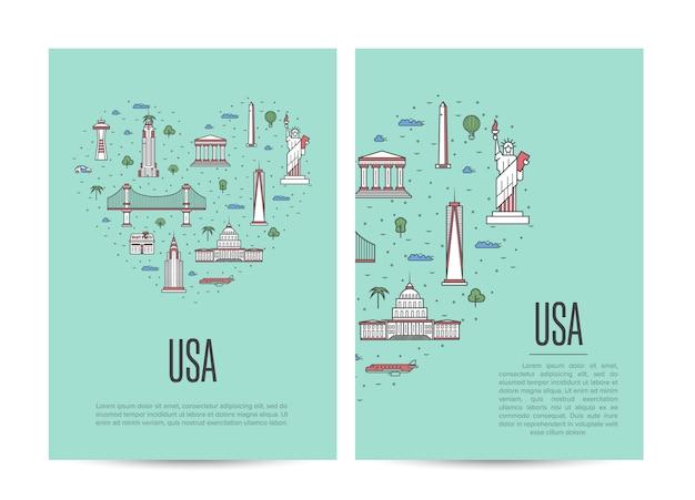 Folheto de turismo de viagens eua definido no estilo linear