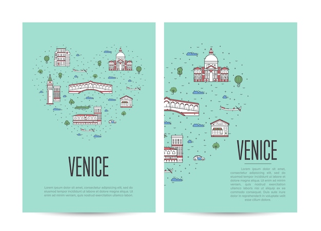 Folheto de turnê de viagens de veneza definido no estilo linear