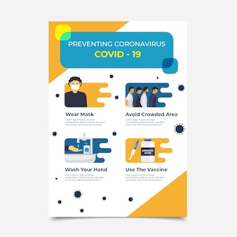 Folheto de vacina de coronavírus de design plano