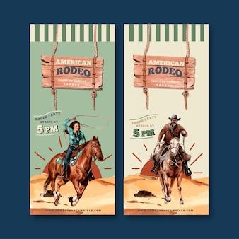 Folheto de vaqueiro com cavalo, homem, corda