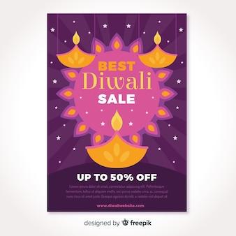 Folheto de venda abstrata sol e velas diwali