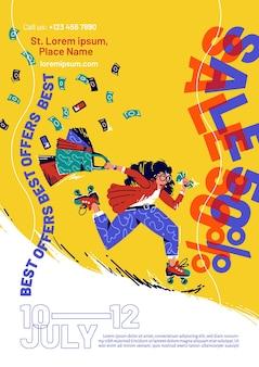 Folheto de venda com mulher apressada de patins com sacolas de compras e dinheiro