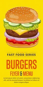 Folheto de venda de hambúrgueres.