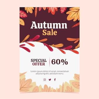 Folheto de venda de outono a4 desenhado à mão