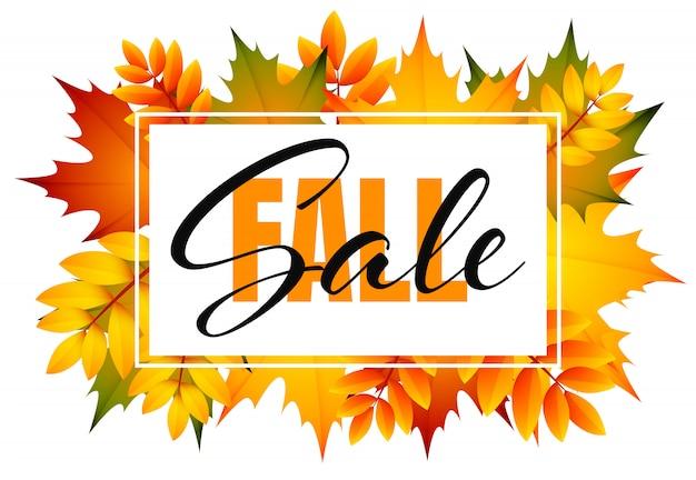 Folheto de venda de outono com monte de folhas de outono