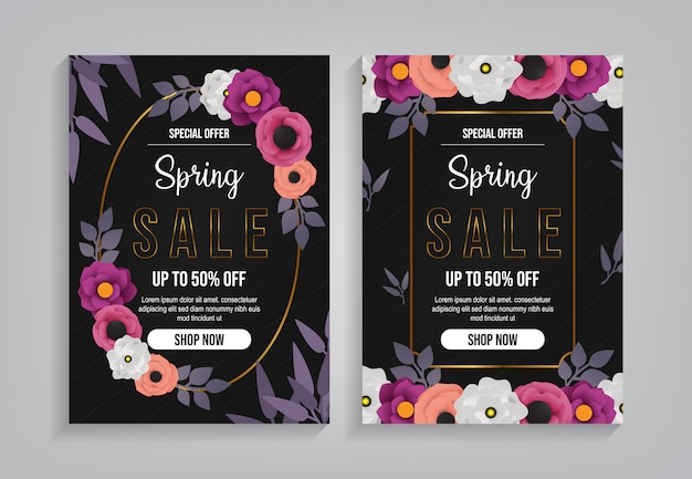 Folheto de venda de primavera com borda de flor