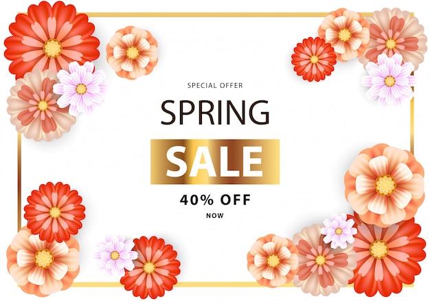 Folheto de venda de primavera com flores laranja e vermelhas