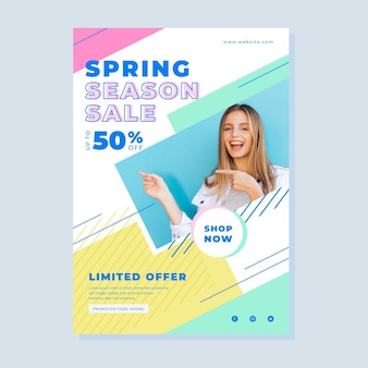 Folheto de venda de primavera com foto