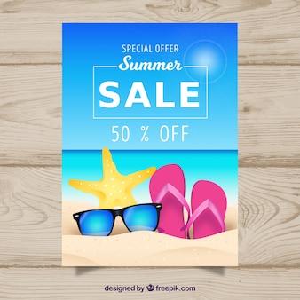 Folheto de venda de verão na praia
