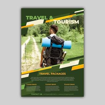 Folheto de venda de viagens com design de modelo de foto