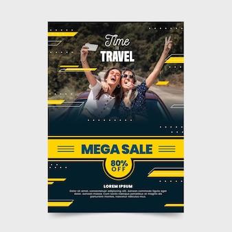 Folheto de venda de viagens com foto