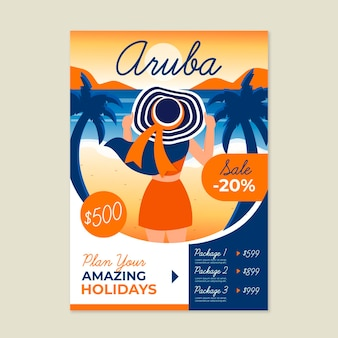 Folheto de venda de viagens com ilustrações