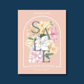Folheto de venda florido para compras de primavera
