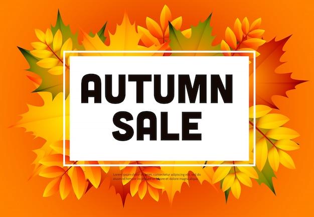 Folheto de venda laranja outono com monte de folhas