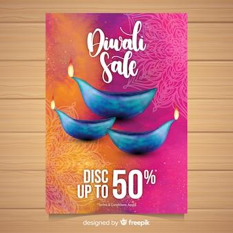 Folheto de venda linda aquarela diwali