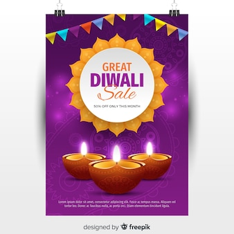 Folheto de venda linda diwali com design realista