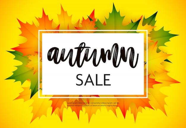 Folheto de venda outono com amarelo