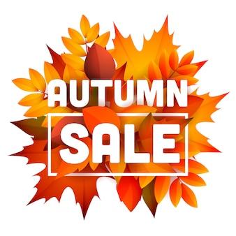 Folheto de venda outono com monte de folhas