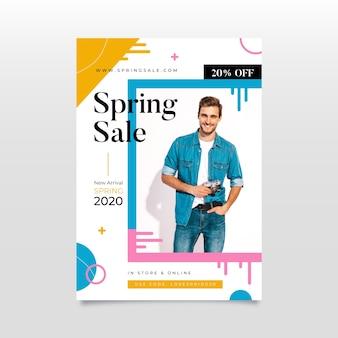 Folheto de venda primavera plana com modelo
