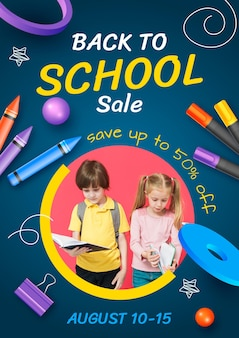 Folheto de venda vertical realista de volta às aulas com foto