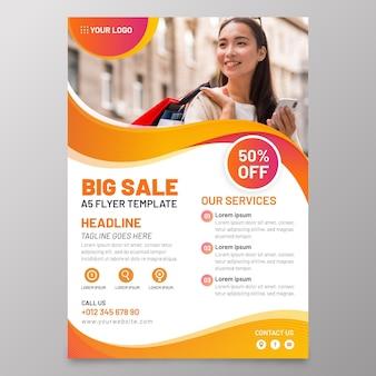 Folheto de vendas a5 com modelo de foto