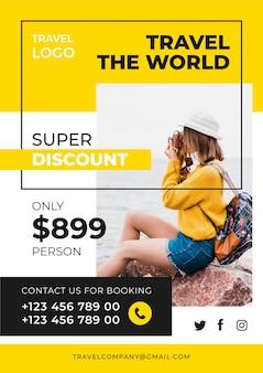 Folheto de vendas de viagem atraente com foto