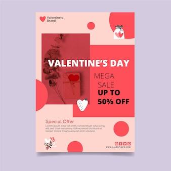 Folheto de vendas vertical do dia dos namorados