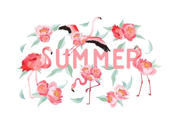 Folheto de verão de vetor flamingo tropical, banner com fundo de flores de peônia. gráfico floral e de pássaros para papel de parede, página da web, pano de fundo