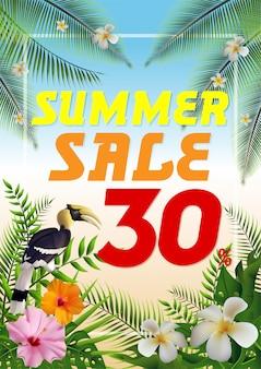 Folheto de verão tropical na moda