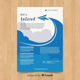 Folheto de viagem de avião de papel