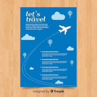 Folheto de viagem de avião voador
