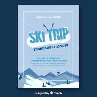 Folheto de viagem de esqui