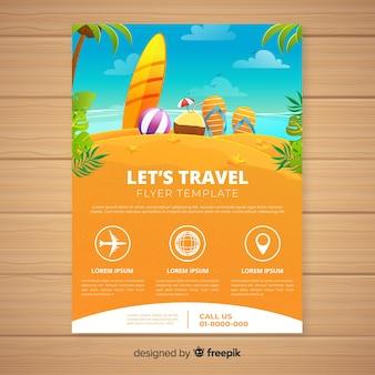 Folheto de viagem de praia desenhada de mão